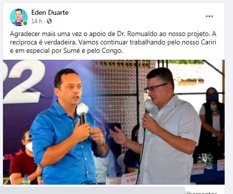 "Prefeito agradece apoio de Dr Romualdo ""Vamos trabalhar juntos por Sumé e Congo"""