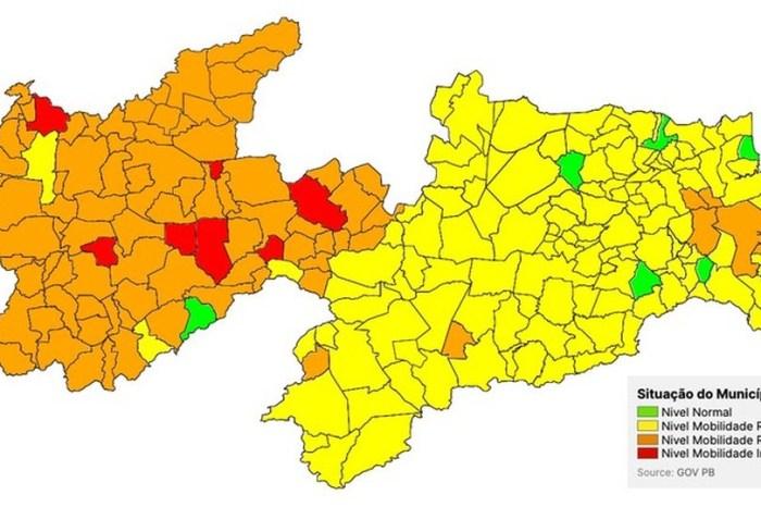 PB tem crescimento de 32% de cidades para a bandeira laranja