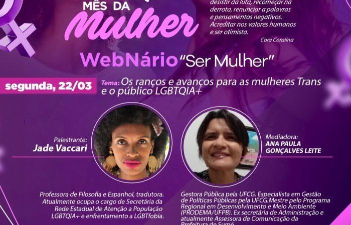 """3º noite do WebNário """"Ser Mulher"""" discute mulheres Trans e o público LGBTQIA+"""