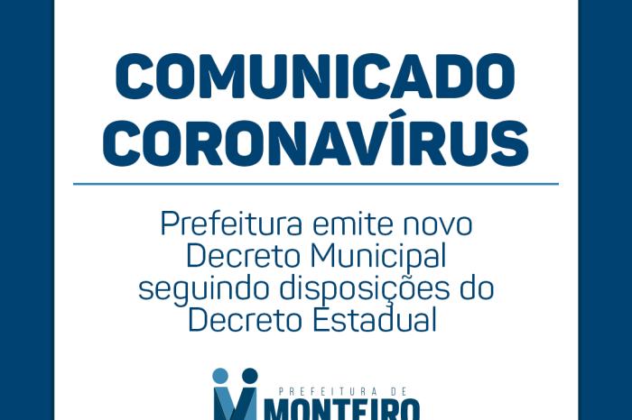 Prefeitura de Monteiro cumprirá decreto estadual publicado nesta sexta-feira