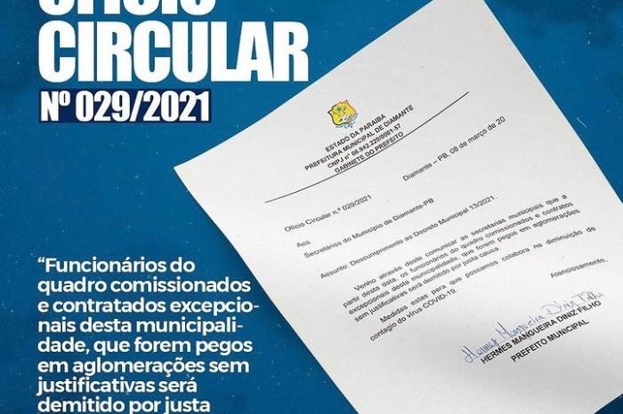 Prefeito da PB demitirá servidor que for flagrado em aglomerações