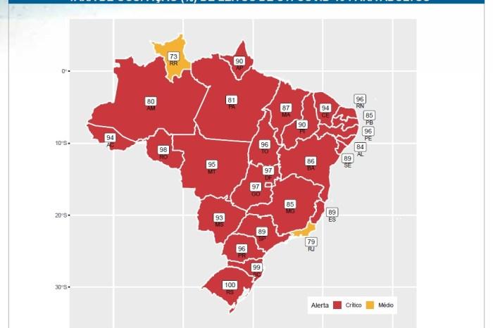 Paraíba passa da zona de intermediária para zona crítica da pandemia