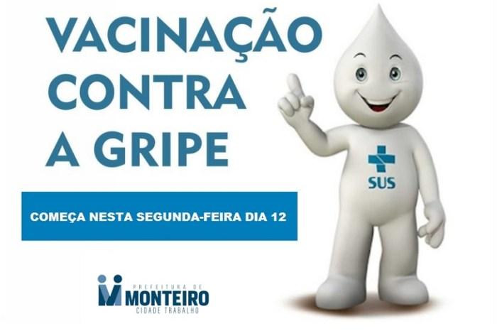 Campanha de vacinação da influenza inicia na próxima segunda-feira em Monteiro