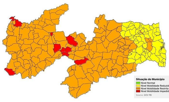Novo avanço da pandemia: bandeira laranja volta a predominar nos municípios paraibanos e preocupa