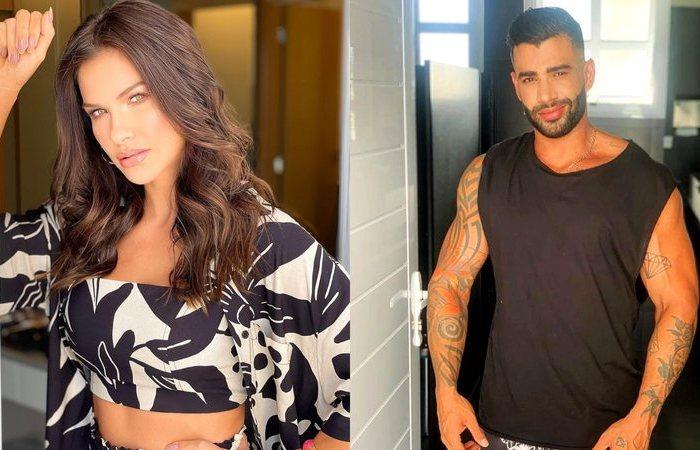 Andressa Suita posa com body estampado e recebe comentário de Gusttavo Lima