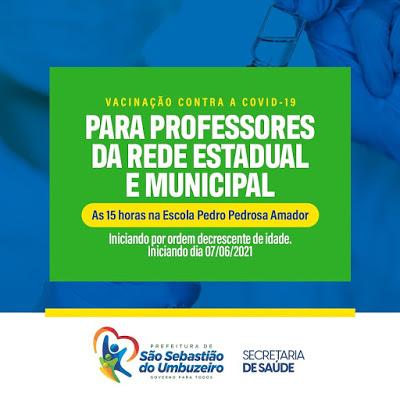 São Sebastião do Umbuzeiro iniciará vacinação de professores contra a COVID-19 segunda-feira