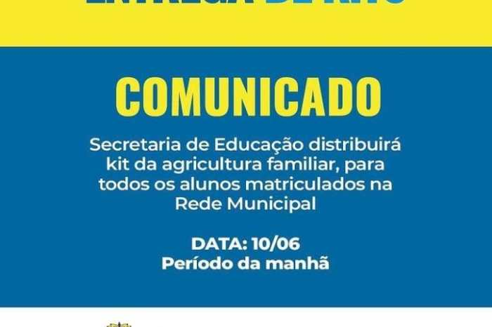 Prefeitura de São João do Cariri anuncia entrega de kits da agricultura familiar para alunos da rede municipal