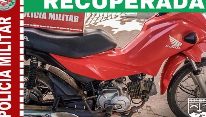 Polícia Militar recupera motocicleta roubada em Serra Branca