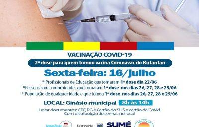 Sumé amplia segunda dose da vacinação contra Covid-19