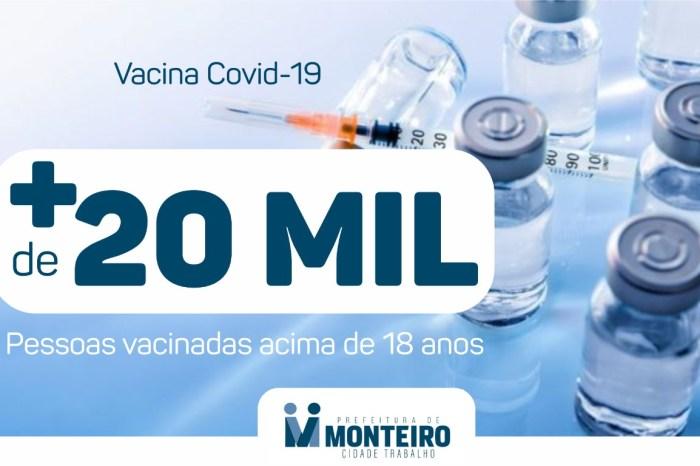 Monteiro vacina mais de 20 mil pessoas com a primeira dose ou dose única contra a Covid-19