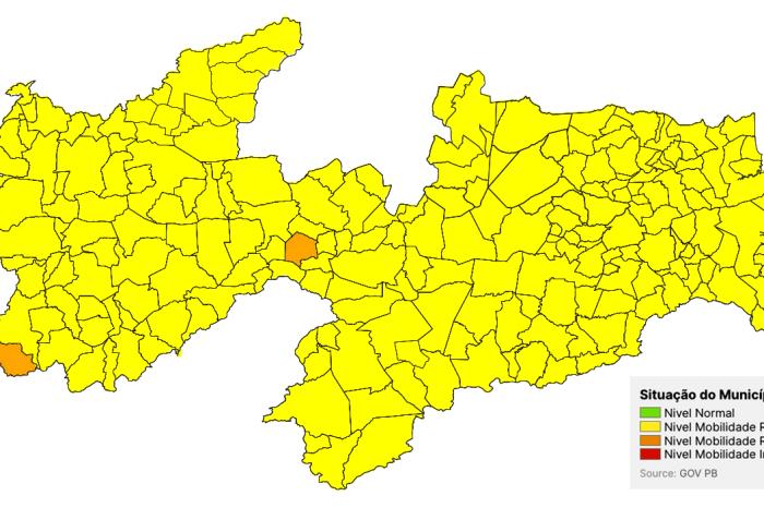 Maior parte da Paraíba segue em bandeira amarela, conforme 'Novo Normal'
