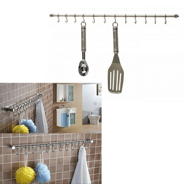 kitchen hooks real wood cabinets costco craft stainless steel utensil 12 hook hanging rack silver 52 cm shop in