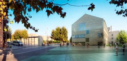 Recreació de l'exterior de la biblioteca des del passeig del Terraplè // Ajuntament de Molins de Rei