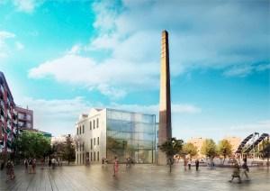 Recreació de la façana de la Biblioteca des de la plaça del Molí // Ajuntament de Molins de Rei