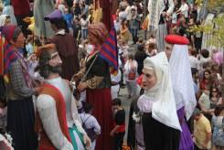 Gegants bascos (a baix) i els del Barça (al mig), durant le ball conjunt final // Jordi Julià