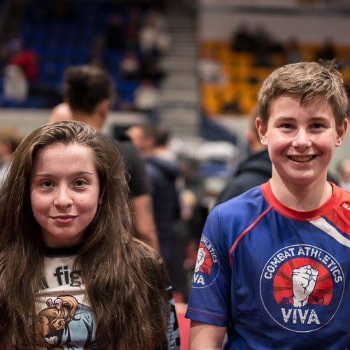 Libby and Ethan at the Kids BJJ European Championships
