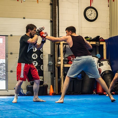 Dan and rob striking in our Manchester MMA class