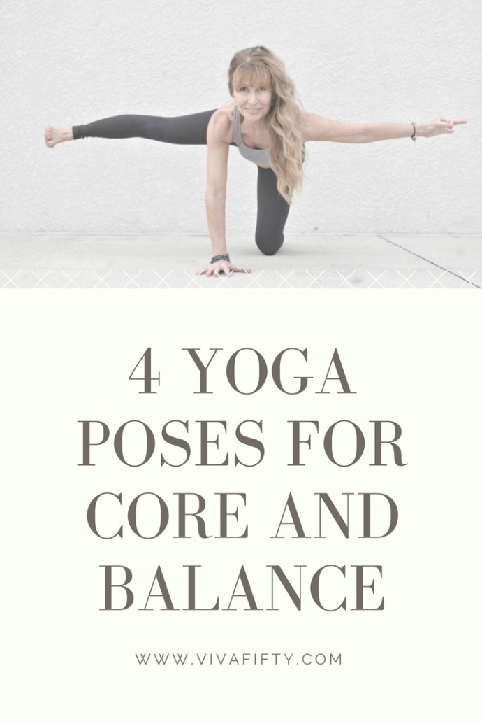 Keeping our abs and core strong becomes even more important as we age, to help support our backs and our balance. Here are four #yoga poses that will help. #core #abs #fitness #midlife