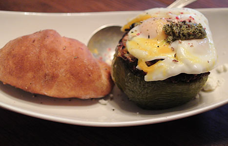 farro and lentil stuffed peppers topped with poached egg