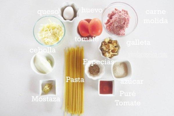 Ingredientes para espagueti con albóndigas