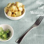 Papas Rostizadas o patatas asadas con mostaza dijon. Guarnición fácil