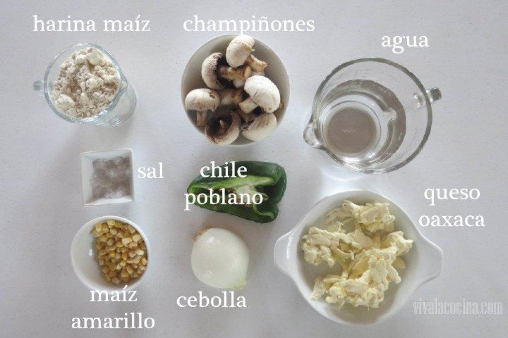 Ingredientes para preparar las Quesadillas fritas de champiñón