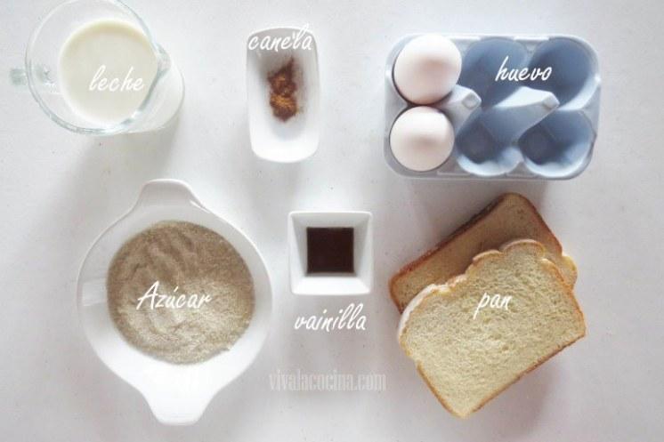 Ingredientes para la Receta de Pan francés o Tostadas francesas