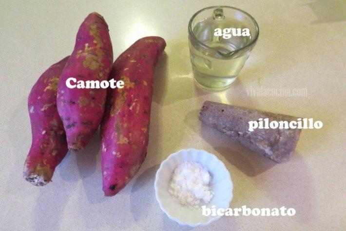 Receta de Camotes enmielados: Ingredientes