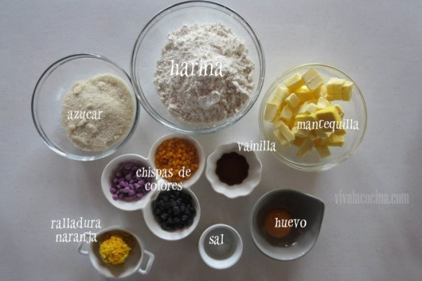 Ingredientes para las galletas de Naranja de Halloween