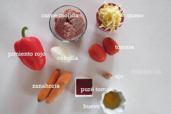 Ingredientes del Relleno del Calzone de Carne