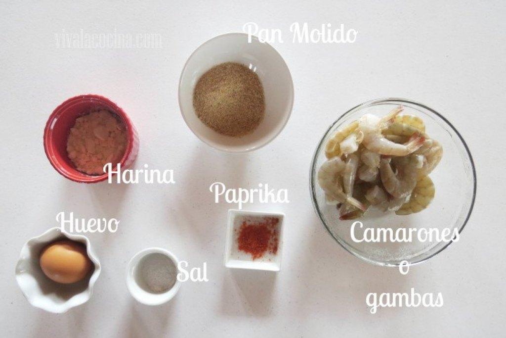 Ingredientes para la Receta Casera de Camarones o Gambas Empanizados