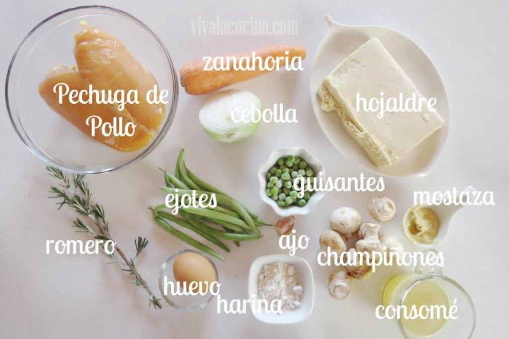 Ingredientes para el Pay de Pollo y Verduras