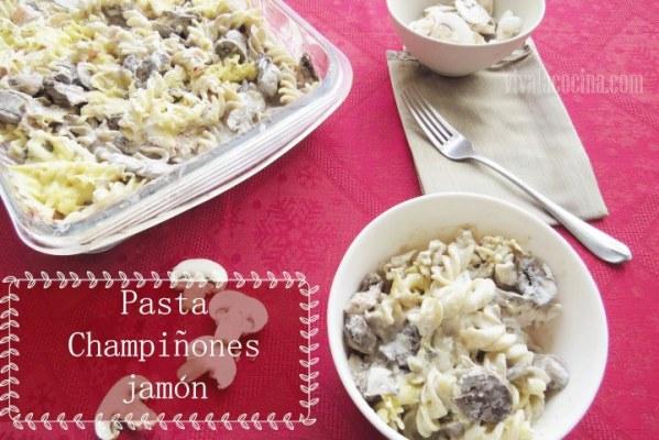 receta de Pasta con Champiñones y Jamón