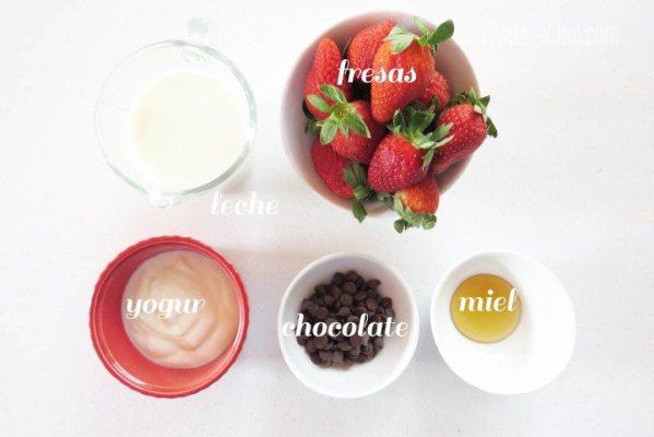 Ingredientes para preparar la receta de Smoothie de Fresa
