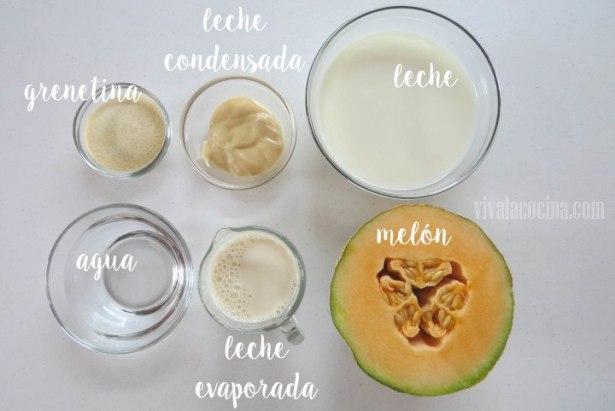 Ingredientes para preparar la receta de Gelatina Cremosa de Melón