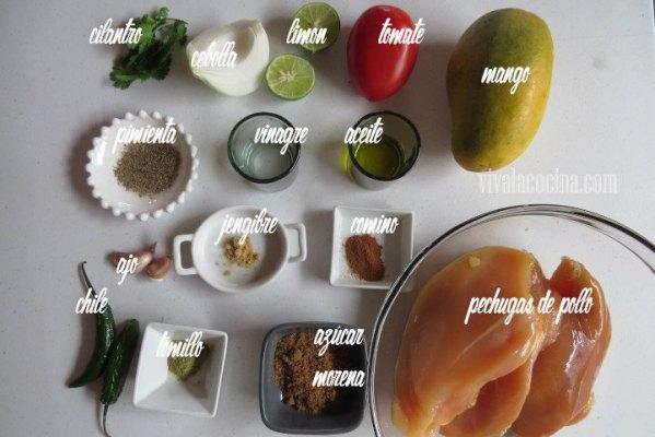 Ingredientes para la receta de Pechuga de Pollo con Salsa de Mango Picante