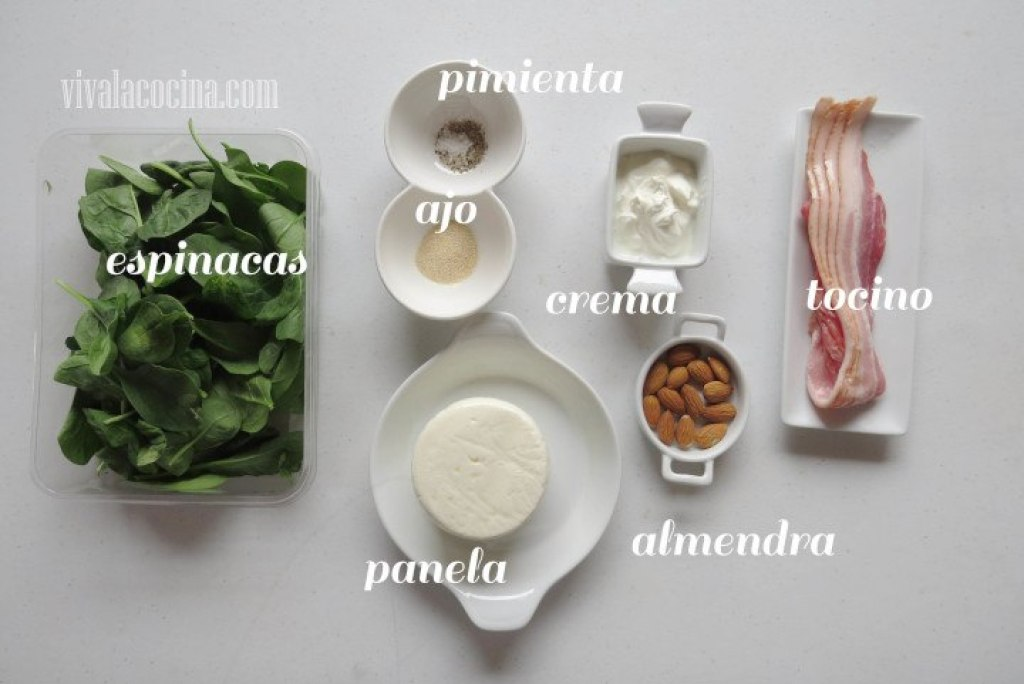 Ingredientes para preparar la receta de Ensalada de Espinacas con Aderezo de Crema con Ajo