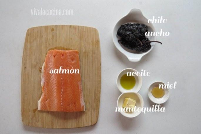 Ingredientes para preparar la receta de Salmón con Glaseado de miel y Chile Ancho