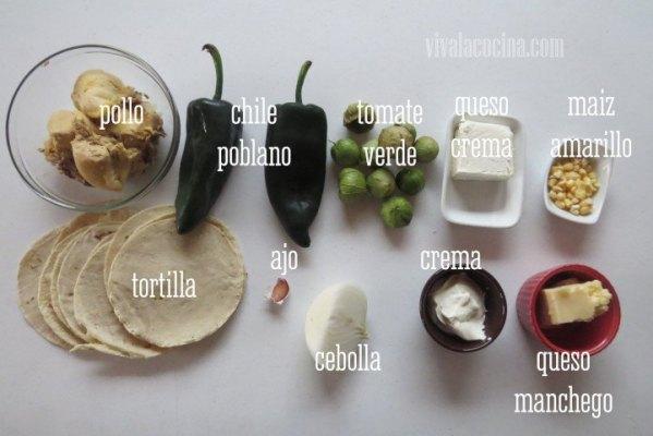 Ingredientes para hacer pastel azteca de pollo