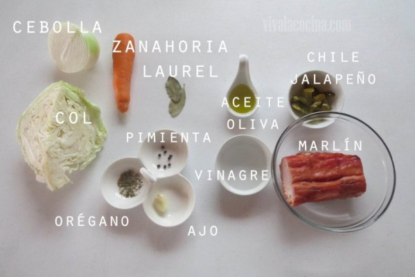 Ingredientes para peparar marlín ahumado en escabeche