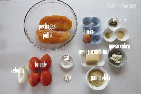 Ingredientes de la receta de Pollo con parmesano y queso de cabra