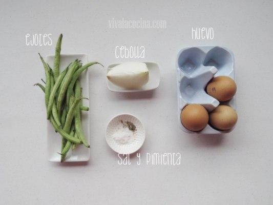 Ingredientes para la receta de huevos batidos con ejotes