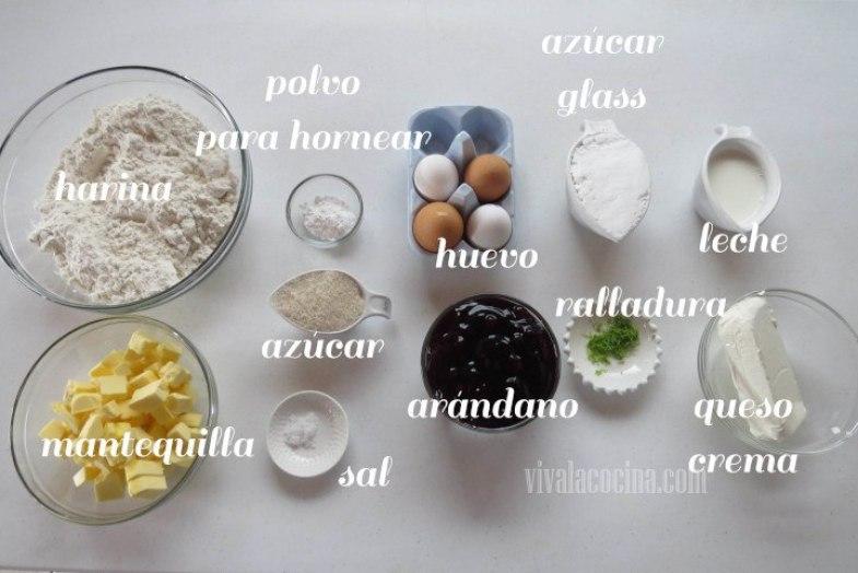 Ingredientes para la receta de Tartas Individuales de Arándanos y Queso Crema