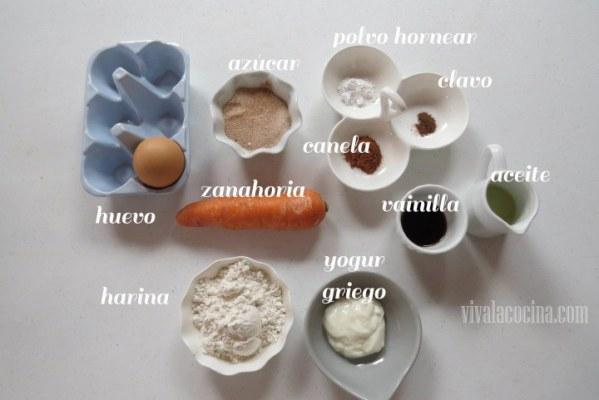 Ingredientes para preparar Mug Cake de Zanahoria
