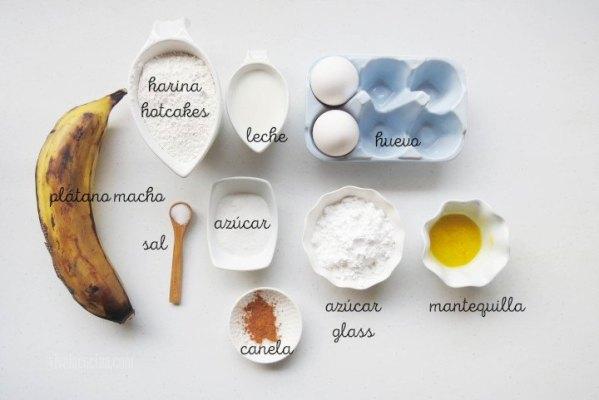 Ingredientes para preparar Buñuelos de Plátano Macho