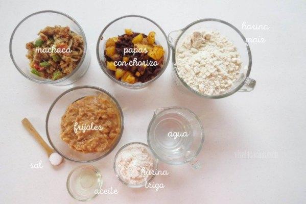 Ingredientes de Gorditas Rellenas de varios guisos