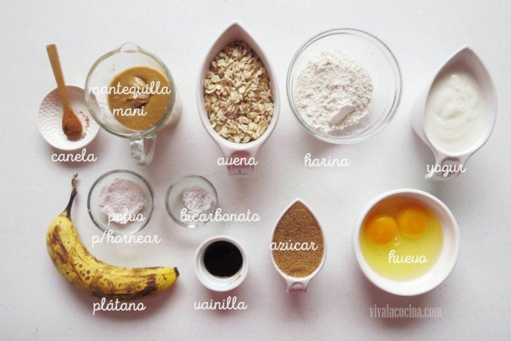 Ingredientes para la receta de Muffins de Avena, Plátano y Maní