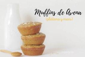 Muffins de Avena con Plátano y Mantequilla de Maní o Cacahuate