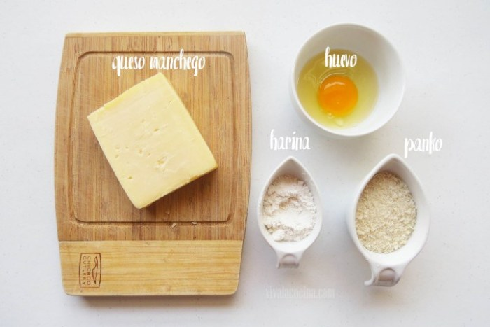 Ingredientes para las Brochetas de Queso