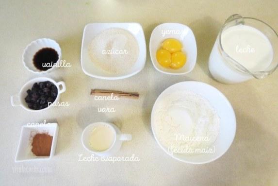 ingredientes para hacer el postre de maicena